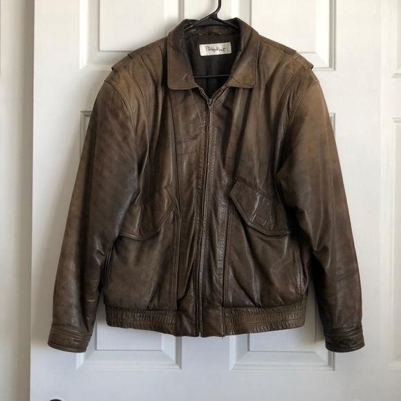 feac66147 Philippe Monet Genuine Leather Aviator Jacket